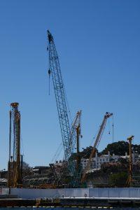 crawler cranes, construction site, piling rigs