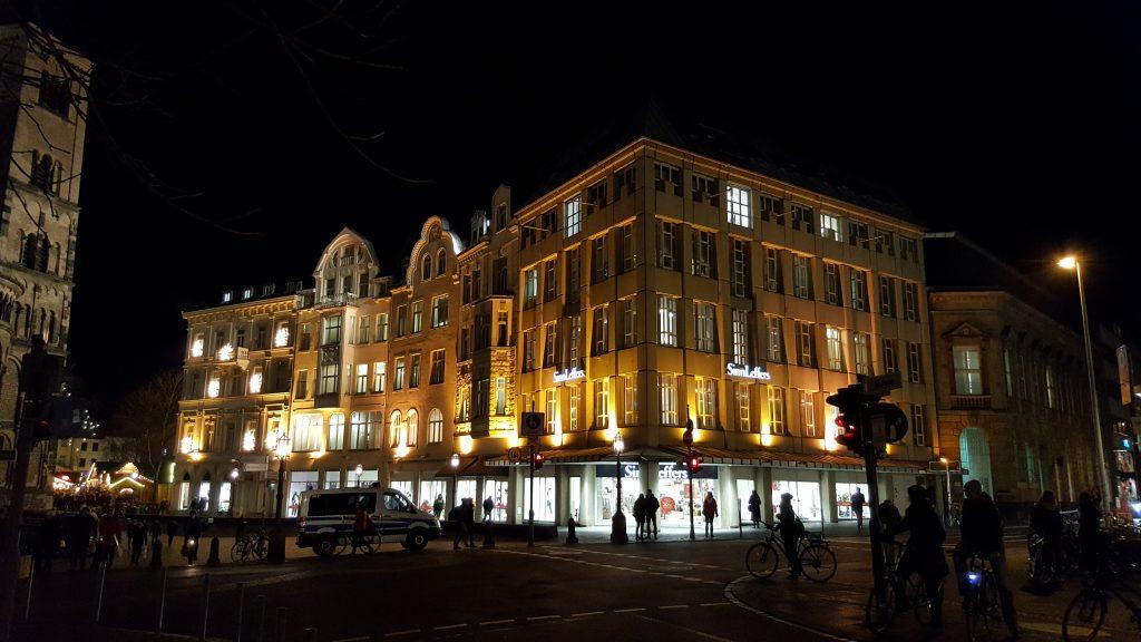 Old buildings at night, night buildings, bonn germany