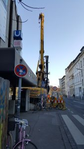 piling machine, bonn germany, excavations