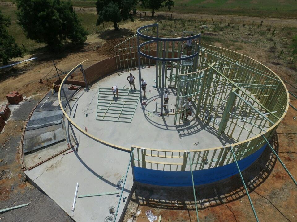 Shepparton Victoria Australia builder, nicholson builders, heath nicholson builders, aerial photo, house frame, house construction