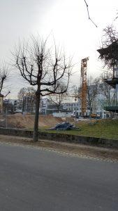 tower crane, rhine river, bonn germany