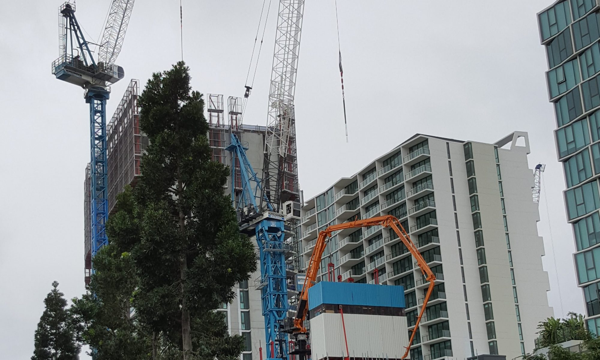 Hutchinson Builders, Newstead, Tower cranes