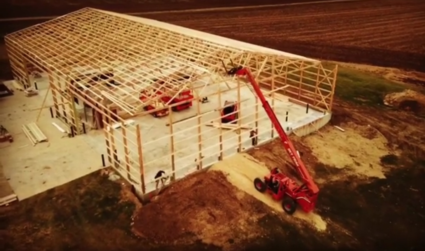 Rural Renovators drone photograph of a post frame building