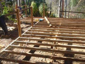 Carpentry, deck sub floor frame