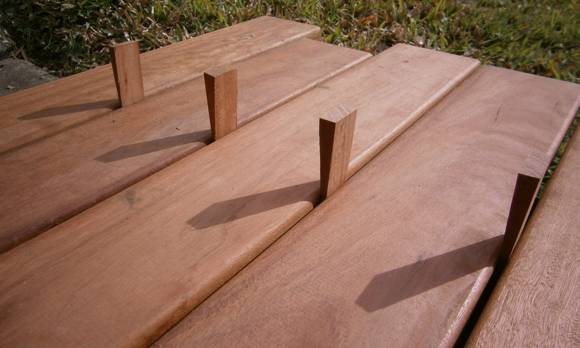 Decking boards, timber wedges