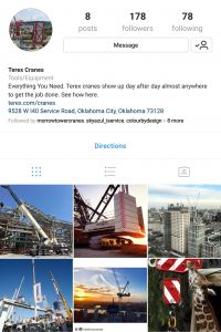 Terex Cranes Instagram page